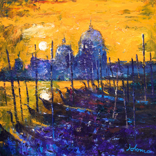Night Falls on the Lagoon Venice by Jolomo