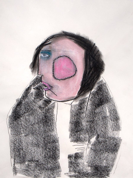 Woman with pink patch by Pat Douthwaite