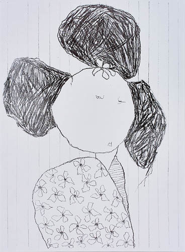 Woman in flowery dress by Pat Douthwaite