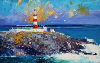 A Summer Rain Squall The Lighthouse Isle of Scalpay by John Lowrie Morrison