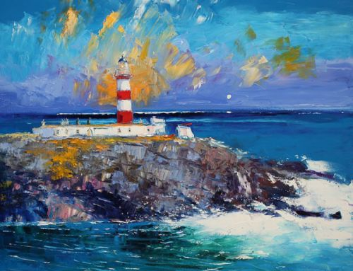 Eilean Glas Lighthouse Scalpay painted by Jolomo – John Lowrie Morrison OBE