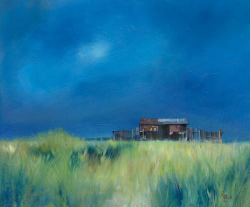 Beach Hut Beadnell Grasses by Ruth Bond