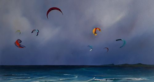 Competing Kite Colours – Beadnell Bay by Ruth Bond