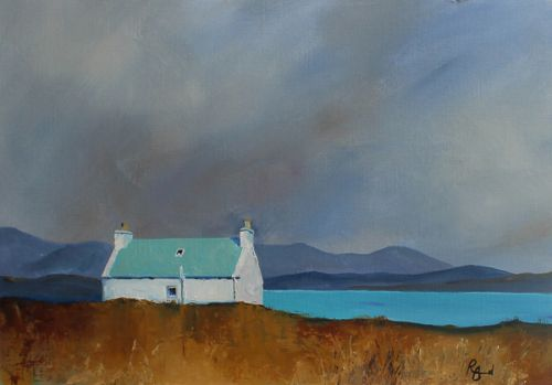 Croft Turquoise Roof Ardveenish - Isle of Barra by Ruth Bond