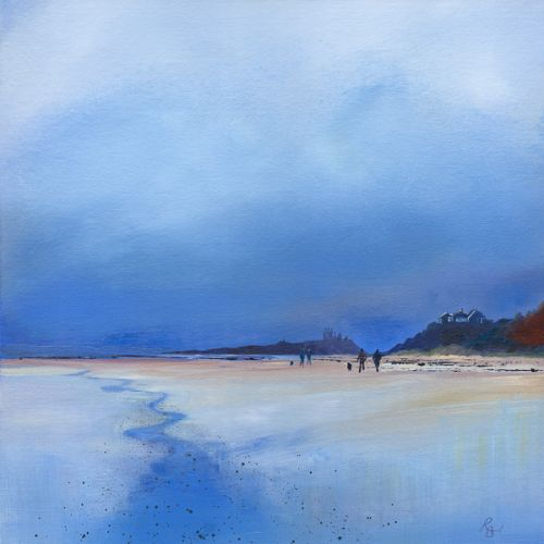 Dunstanburgh Ruins in Reflections Blue – Walking the Dogs by Ruth Bond