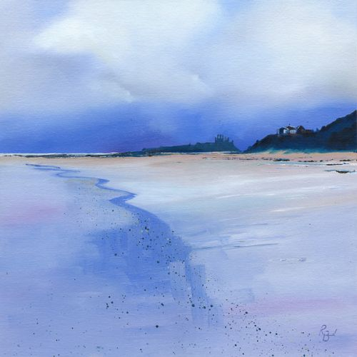Dunstanburgh Ruins in Reflections Blue by Ruth Bond