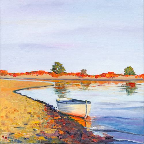 Evening Light, Boat on Estuary, Alnmouth by Ruth Bond