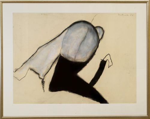 Female nude kneeling by Pat Douthwaite framed