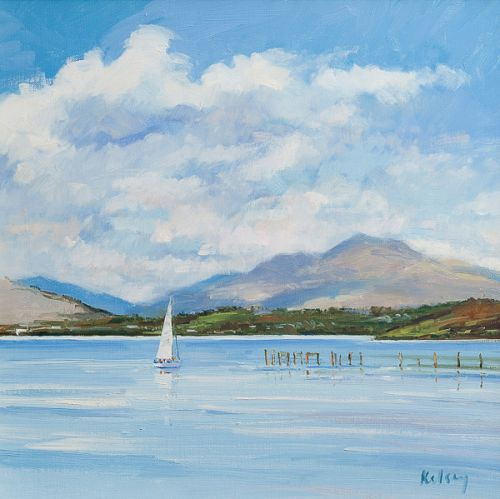 KELSEY, Robert. Clouds over Loch Lomond. oil on linen. 38x39cm (15x15.25in). High res.pg_