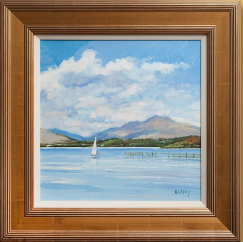 KELSEY, Robert. Clouds over Loch Lomond oil on linen 38x39cm (15x15.25in) Framed