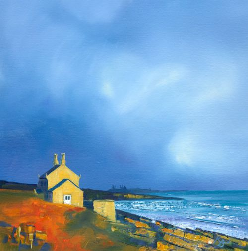 Racing Clouds Behind Sunlit Sandstone, Bathing House by Ruth Bond