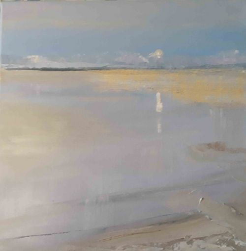 Retreating Tide, Moonlight Reflection Alnmouth by Ruth Bond