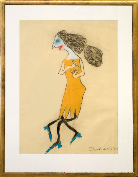 The Yellow Dress by Pat Douthwaite framed