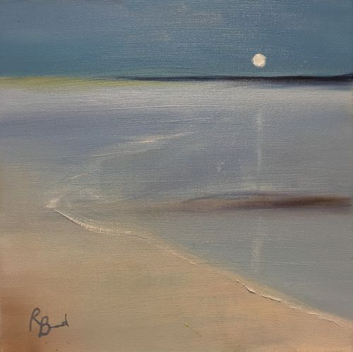 To The Drowned Sand, Moonlight Alnmouth 30 x 30 cm painting by Ruth Bond